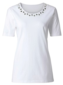 Embellished Neck Tee
