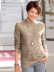Melange Rib Neck Sweater