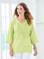 Bead Neck Crinkle Tunic