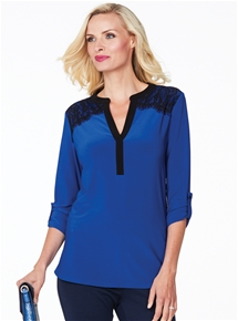 Captivating Cobalt Lace Shirt