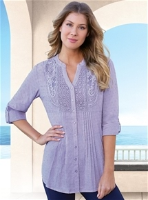 Embroidered Dobby Tab Sleeve Tunic