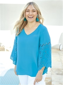 V Neck Tunic with Embroidered Sleeves [PLUS SIZE]