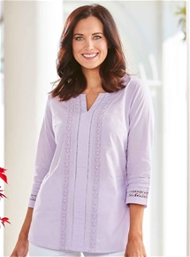Lace Trim Cotton Tunic