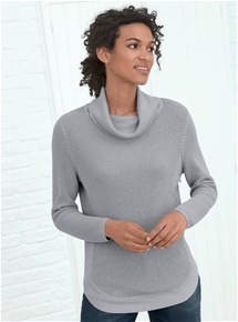 Curved Hem Roll Neck Sweater