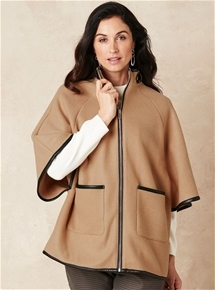 Trim Poncho Jacket