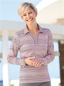 Melange Stripe Polo Top