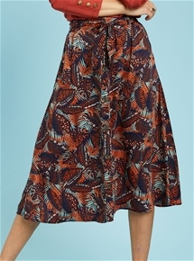 Satin Leaf Print Skirt