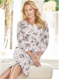 3/4 Sleeve Roses Nightie_19F35_0
