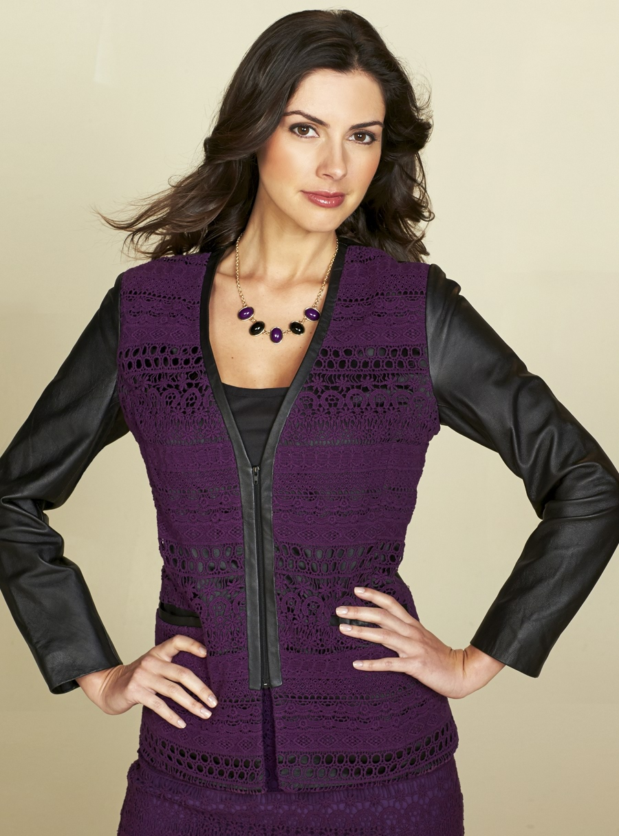 Chic Leather & Lace Jacket Black/Burgundy Multi 14