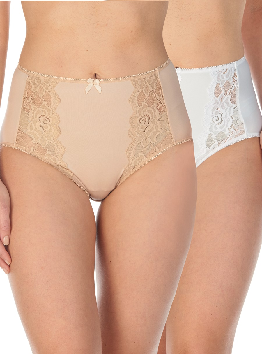 2 Pack of Lace Briefs Nude/White 14