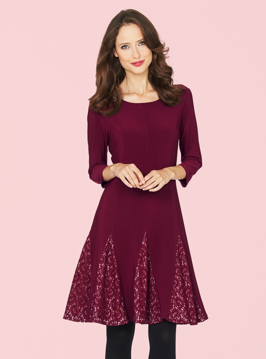 Monaco Bordeaux Lace Godet Dress Merlot M