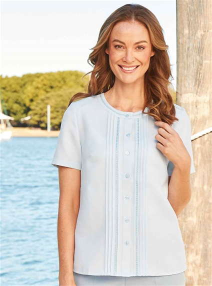 Pleated Round Neck Blouse